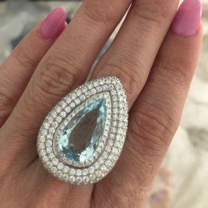 Jewelry - Giant 6.33k Aquamarine ring 18k white gold, 3.47DM
